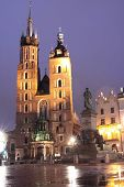 Krakow by night - St. Marys Church
