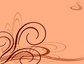stock photo of scrollwork  - orange background illustration with scrollwork swirls and flourishes - JPG