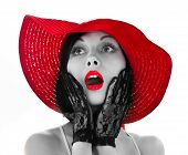 Pin-up Woman With Red Hat And Lips