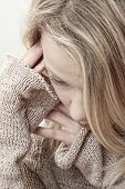 picture of blonde woman  - Emotional portrait of abused - JPG