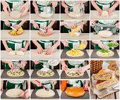 Постер, плакат: A Step By Step Collage Of Potato Ham Sour Cream And Cheese Pie