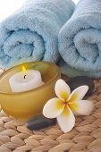 Frangipani,Candle And Towel On Mat