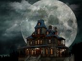 foto of manor  - A creepy haunted house with a weathered - JPG