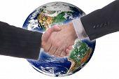 Male And Female Global Handshake