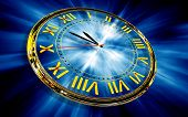 Gold Clock On Abstract Blue Background