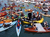 Mccovey Cove Filled With Kayaks, Boats And People