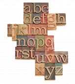 Alphabet Abstract In Wooden Fonts