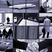 Conceptual image-grid of business photos: business trip.