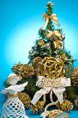 Christmas decoration on blue background.