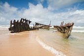 Wreck On Australian Beach During The Day