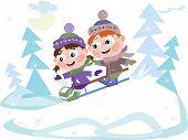 Little boy and girl slides