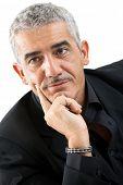 Portrait of mature man thinking, isolated on white background.