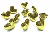 Golden Valentine Hearts
