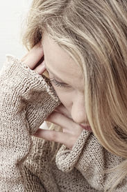 stock photo of blonde woman  - Emotional portrait of abused - JPG