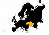 Europe With Highlighted Ukraine Map poster