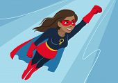 Superhero Woman In Flight. Attractive Young African American Woman Wearing Superhero Costume With Ca poster