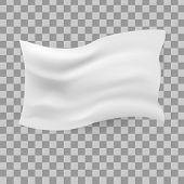White Waving Flag Template On Transparen Background. Clean Horizontal Canvas, For Your Design. Empty poster