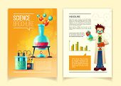 Science Brochure Vector Template, Front And Back Side, Educational Leaflet, Flyer With Different Che poster