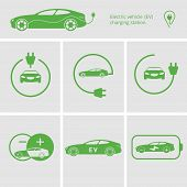 Vector Illustration Charging Station For Electric Car. Icons Pin Point Electric Vehicle Charging Sta poster