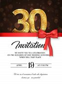 Template Of Invitation Card To The Day Of The Thirtieth Anniversary With Abstract Text Vector Illust poster