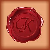 seal wax monogram of letter K