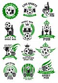 Soccer Bar Icons Templates For Live Game Championship Broadcast Beer Pub. Vector Symbols Of Soccer B poster
