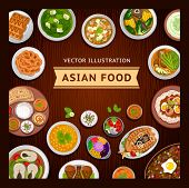 Asian Food On A Wooden Table. Indian And Philippine Cuisine. Vector Flat Illustration. poster