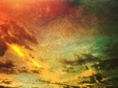 Apocalyptic Grunge Sunset Sky And Clouds Background. Dusty Scratched Texture. poster