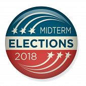 Retro Midterm Elections Vote & Election Pin Button / Badge poster