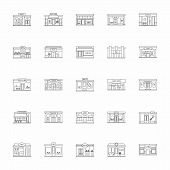 Modern Fast Food Restaurant And Shop Buildings, Store Facades, Boutiques With Pharmacy Outline Icons poster