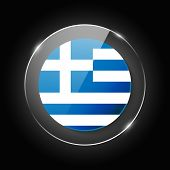 Greece National Flag. Application Language Symbol. Country Of Manufacture Icon. Round Glossy Isolate poster