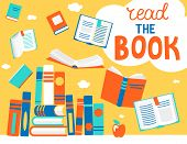 Close And Open Books In Different Positions With Bubble Read The Book. Knowledge, Learning, Educatio poster