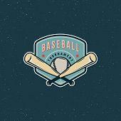 Vintage Baseball Logo. Retro Styled Sport Emblem, Badge, Design Element, Logotype Template. Vector I poster