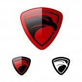 Eagle Heads With Shields Logo, Creative Falcon Head Logotype With Shield, Eagle Head Illustration, E poster