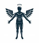 Vector Graphic Illustration Of Muscular Human Made Using Angelic Bird Wings And Halo. Guardian Angel poster