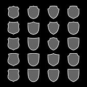Shield Shape Icons Set. Gray Label Sign, Isolated On Black. Symbol Of Protection, Arms, Coat Honor,  poster