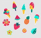 Summer Stickers Set. Fun Stickers Design Vector In Summer Holidays Concept. Summer Labels, Logos, Ha poster
