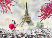 Paris European City Landscape. France, Eiffel Tower And Couple Lovers Man, Woman, Umbrella Red, Mode poster