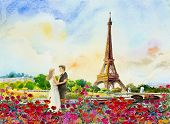 Paris European City Landscape. France, Eiffel Tower And Couple Love Man, Woman, In Red Roses Garden, poster