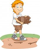 Illustration of a Kid Gathering Firewood