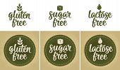 Signs Lactose, Sugar, Gluten Free Lettering. Drop, Leaf, Cube Vector Beige Vintage Illustration Isol poster
