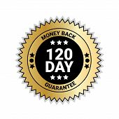 Money Back In 120 Days Guarantee Sticker Golden Medal Isolated Vector Illustration poster