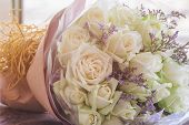 Beautiful Sweet White Roses Bouquet In Vintage Tones Style. Luxury Romantic Gift Or The Present On V poster