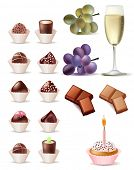 Pretty vector sweet set. Cake, grape, wine and pieces of chocolate.