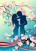 Floral greeting card with silhouette of couple