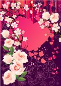 Floral greeting card with heart, blossom and white roses