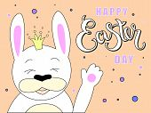 Hand Sketched Happy Easter Day Text With Joyful White Bunny As Pascha Logotype, Badge And Icon. Draw poster