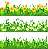 Three horizontal seamless patterns with grass and flowers