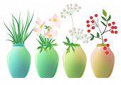 Set of ceramic jars with plants. Raster version. Vector version is in my gallery.