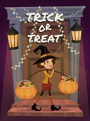 Trick Or Treat Lettering. Child In Halloween Costume With A Pumpkin Full Of Treats. Halloween Night  poster
